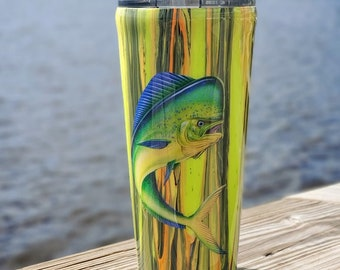 Mahi Mahi Dirity Pour Stainless Steel Fishing Tumbler 24Oz Blue/Green Ocean Pretty Bill Fish Tumbler