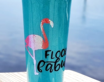 Flocking Fabulous Pretty Pink and Blue Glitter Tumbler with Pretty Glitter Free Pink Flamingo