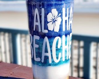 Aloha Please Custom Blue Beachy Tumbler, Beach Stainless Steel Drink