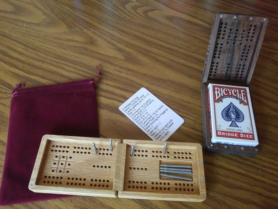 Travel Size HighClassSigns Re-purposed Bamboo 3-Player Cribbage Board