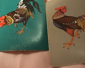 Rooster Swap Cards  2 Vintage Mod Rooster Playing Cards Great for Mixed Media Journals etc. Smash Books