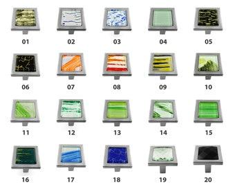 Modket Graphic Glass Square Knobs Brushed Nickel Base Cabinet Knob /Dresser knobs cabinet Dresser Knobs / Dresser Pull / Cabinet Knobs