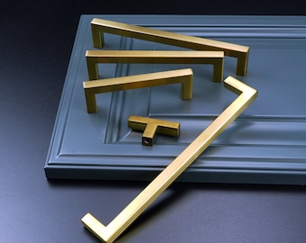 Modket Brushed Satin Brass Gold Modern Kitchen Cabinet Handles Pulls Knobs Hardware Bathroom Drawer Dresser Square Stainless Steel