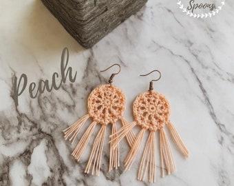 Crochet Boho Earrings, Handmade Jewelry, Colorful Yarn Accessories, Stainless Steel Hooks, Hippie Style, Fringe Tassels, Sunshine State