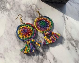 Boho dream catcher earrings, bohemian tassel earrings, crochet jewelry