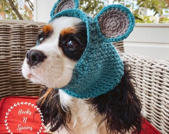 crochet dog snood, pet ear warmers, animal ear protectors, custom made snoods for dogs, colorful made to order dog hats, bear ears dog snood