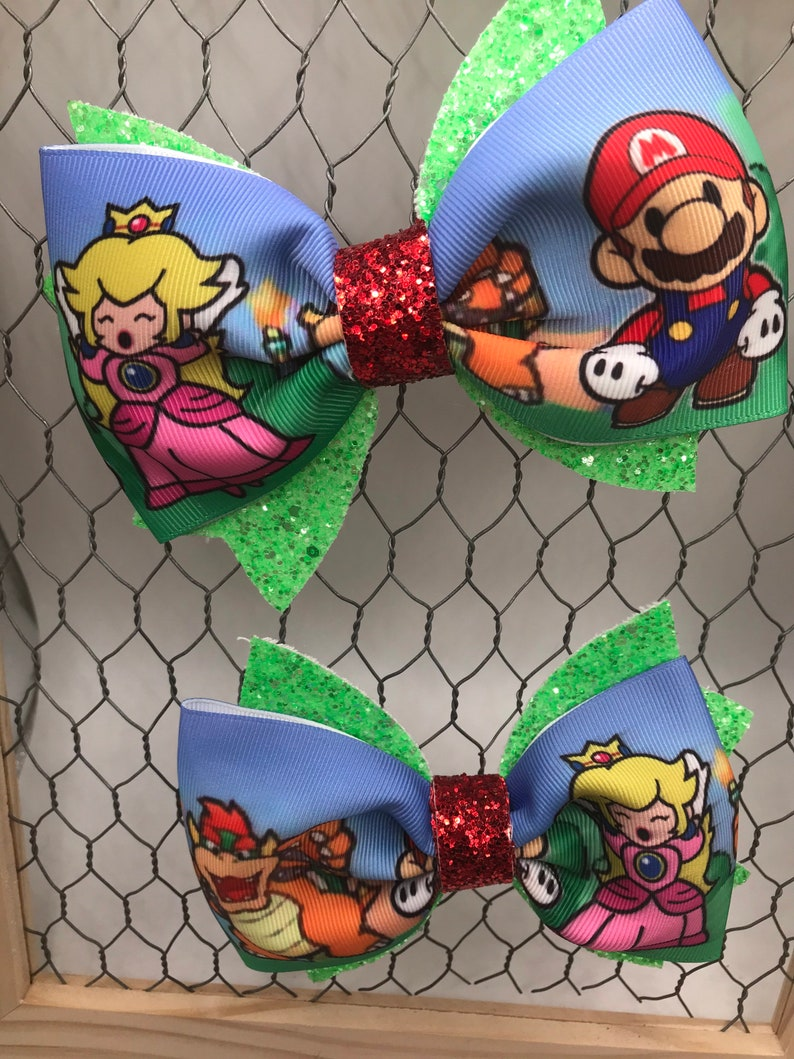 Mario Bros inspired piggy tail set.