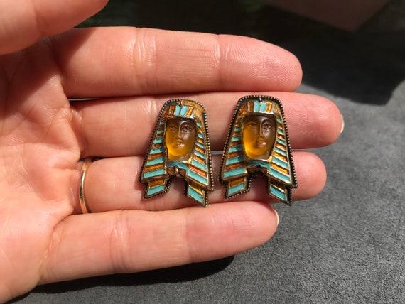 Egyptian Revival Sterling Silver Cufflinks