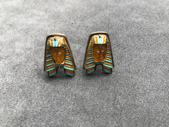 Egyptian Revival Sterling Silver Cufflinks - image 2