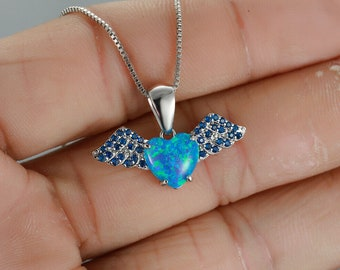 Delicate Heart White Fire Opal Wing Pendant Necklace Rose Gold Wedding Jewelry Gifts