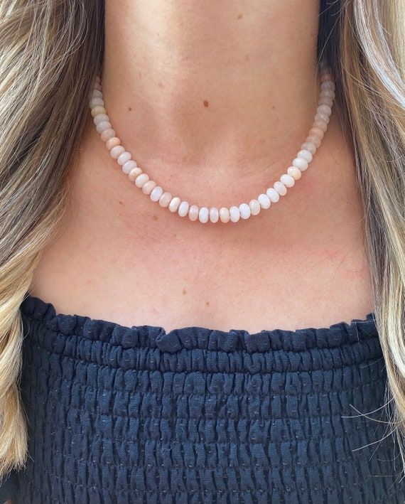Pink Aventurine and Pearl Necklace with Moonstone