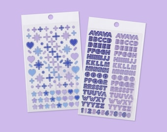 Set of 2 Purple Silver Line Deco Stickers - Colorful Stickers - Toploader Stickers - Clear Stickers - Polco Stickers - Planner Stickers