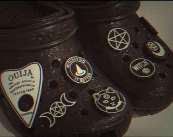 Shoe Charms, Croc, Clog, Accessories   Witchy, Halloween, Trippy, Pentagram, Gothic