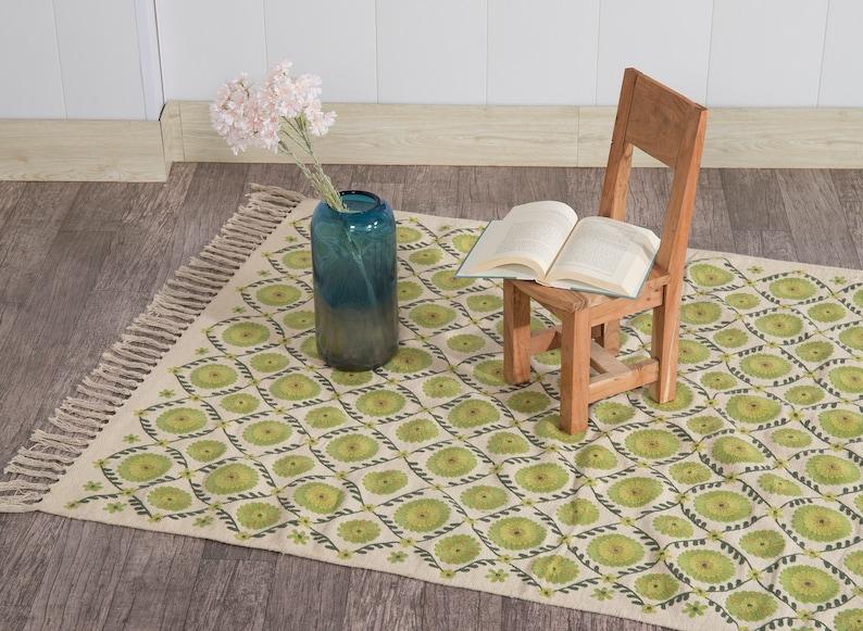 Decorative Handmade Carpet Hand Embroidered Area Rug Bohemian Indian Floor Mat