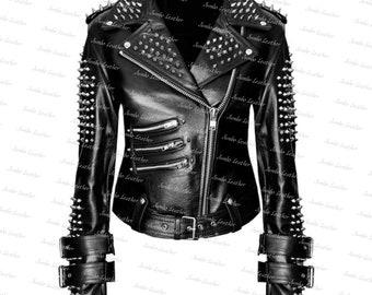 United Stylish Spiked Studded Biker Jacket Men Red Punk Gothic Unique Biker Cowhide Leather Jacket Studded Racing Jacket