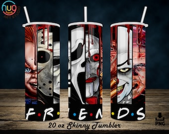 Horror Friends Tumbler 20 oz Skinny, Halloween 20oz Skinny Straight and Tapered Sublimation Designs, Horror Tumbler Wrap, Digital Downloads