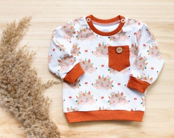 Baby sweater, hedgehog, rust red, size 68