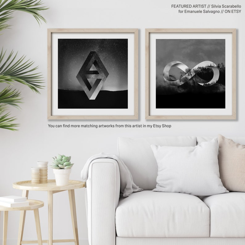 FineArt Print  Impossible Nature #3 by emerging Italian artist Silvia Scarabello Black and white colorful artwork shapes polyscape poster