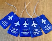 """Fun luggage tag """"I only turn left"""""""