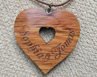 Personalised wood heart, Wood Anniversary Gift for Her, Wooden pendant, Custom wood heart, Wood Jewelry
