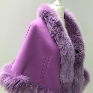 Women Fuchsia Cape long Cashmere and trim arctic fox fur