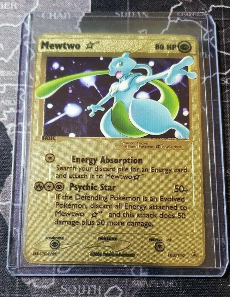 Pokemon Mewtwo Gold Star 103110 Gold Metal CUSTOM Card Top Loader