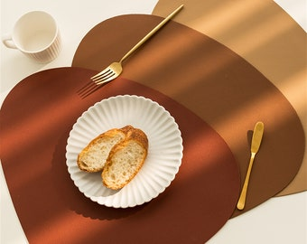 Best seller -Multi colors faux leather placemats -PU leather waterproof table mat,placemat set -buy one get another small one -oval placemat