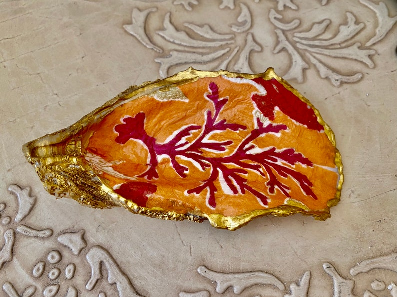 collector\u2019s item hostess gift birthday gift, Orange red Seaweed themed oyster shell decoupaged ring dish jewelry trinket