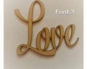 Love Script Words Wall Art, Nursery Decor, Wedding Table Confetti, Childrens Playroom, Child Crafting, MDF, Scrapbook