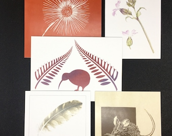 5 Luxury Art Cards, Mulitpack, Blank Inside, Any Occasion, Thank you, Notelets, Birthday, Assorted Designs, Nature,