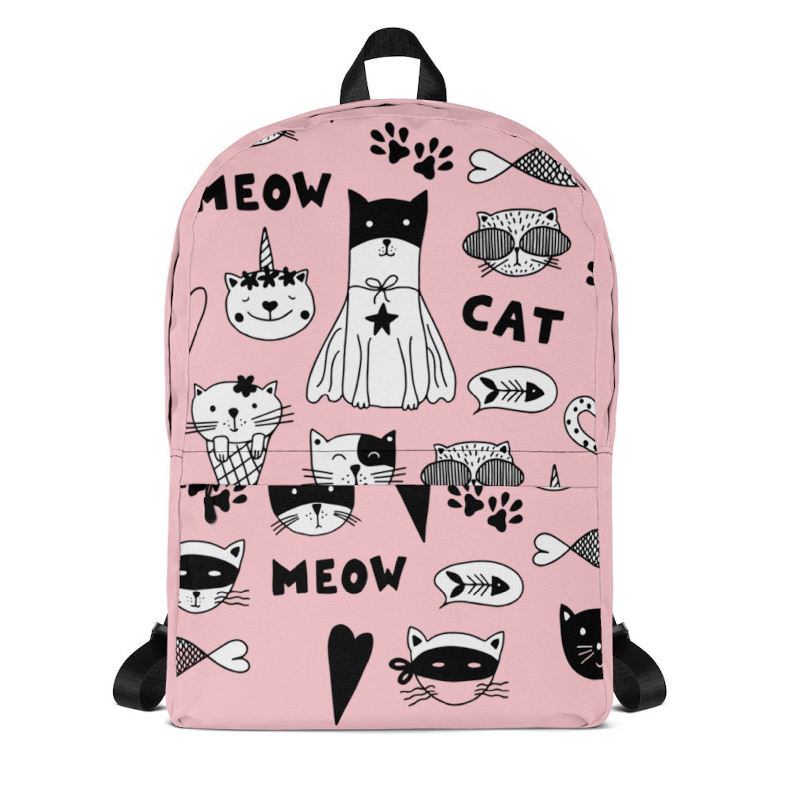 Pink Cat Cartoon Backpack