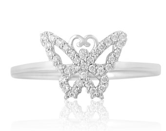 Butterflies Diamond Ring  14k Solid Gold Natural Diamonds Butterfly Ring Everyday Statement Ring for women Valentine Gift for Girls