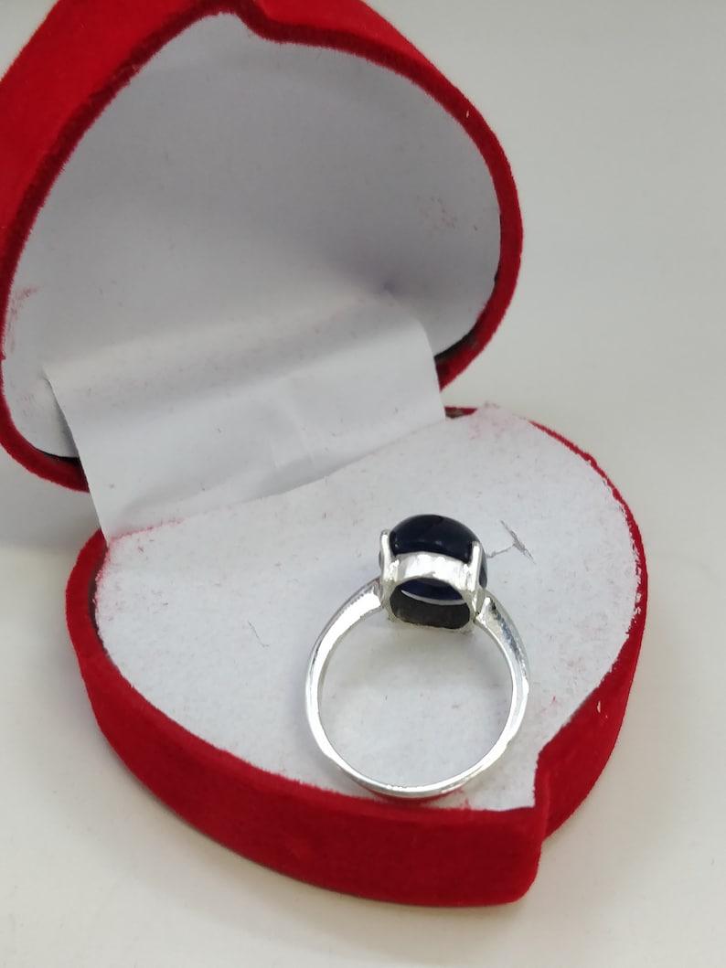 Gemstone Ring Kashmir Dark Blue Sapphire Silver Ring By Tarzli. Beautiful Natural Sapphire Stone 6 US Size Handmade Silver Ring