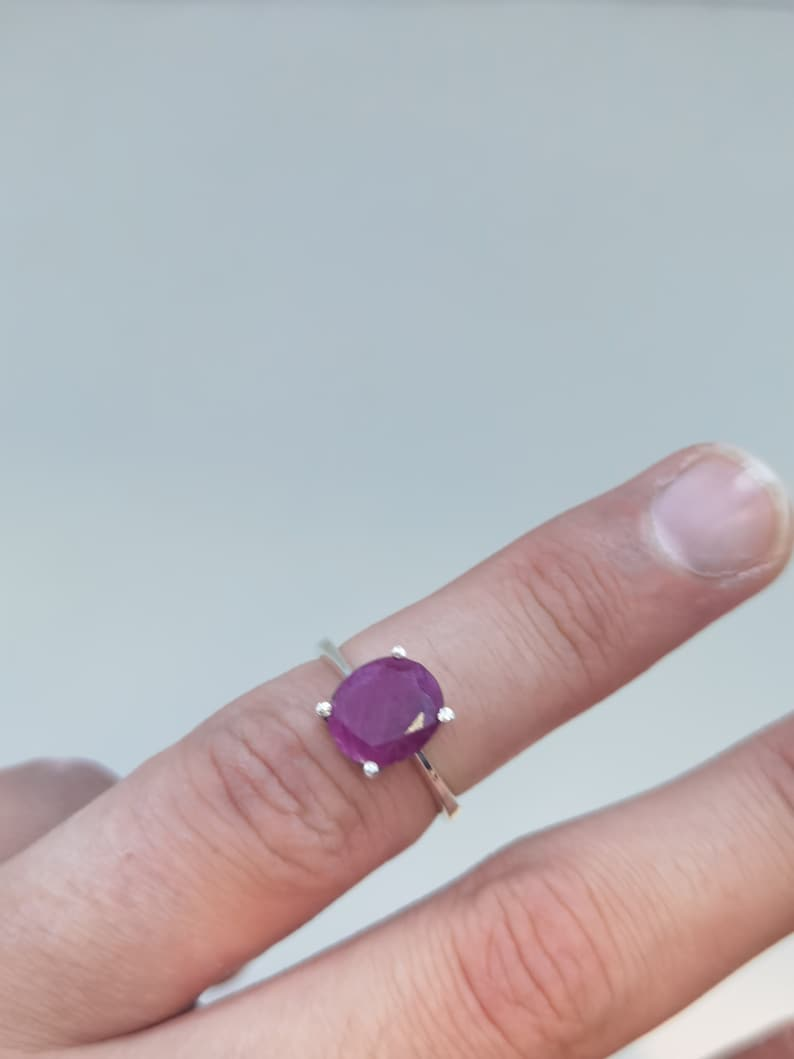 Natural African Ruby Stone Ring Gemstone Silver Ring 6 US Size By Tarzli. Handmade Silver Ring Silver Ruby Ring