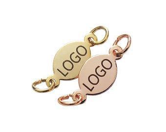 Custom Tag Laser Engraved Jewelry Charms Brand Logo Charms 0.8x5x12 mm  Oval Charms Gold Plated  Oval Charms L4