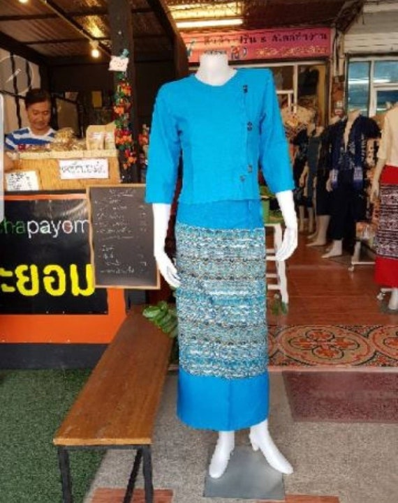 Black Traditional Thai costume- women Cotton Hand woven product from thailand Thai vintage costume with Shirt and Skirt Thai lanna shirt