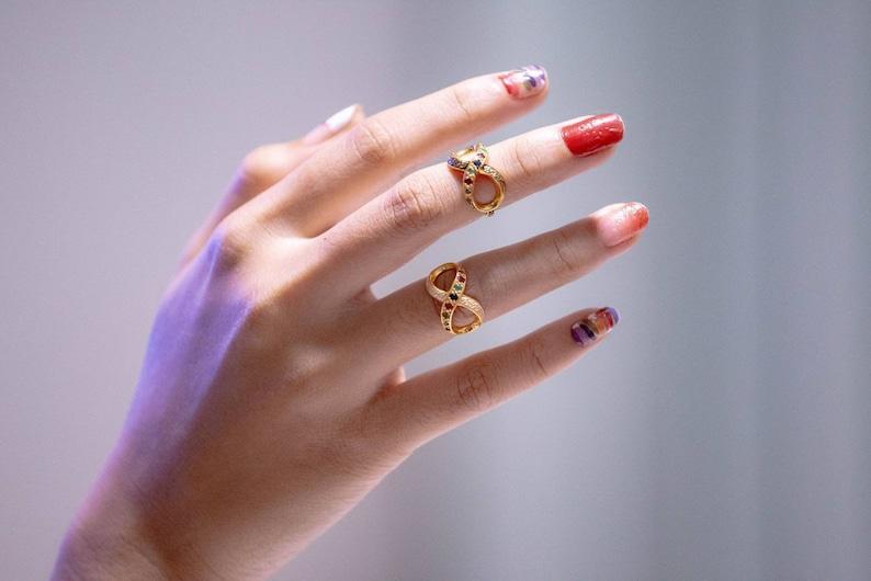 Ruby EmeraldSapphire Silver 92.5/% Enamel 24K Gold Thai ring Vintage Anniversary ring Infinity ring Multi-Stone Ring Valentine Gifts