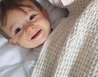 Waffle linen blanket, baby blanket, Waffle Blanket, Linen Blanket, Beige linen baby blanket, Waffle kids blanket. Soft nursery blanket.