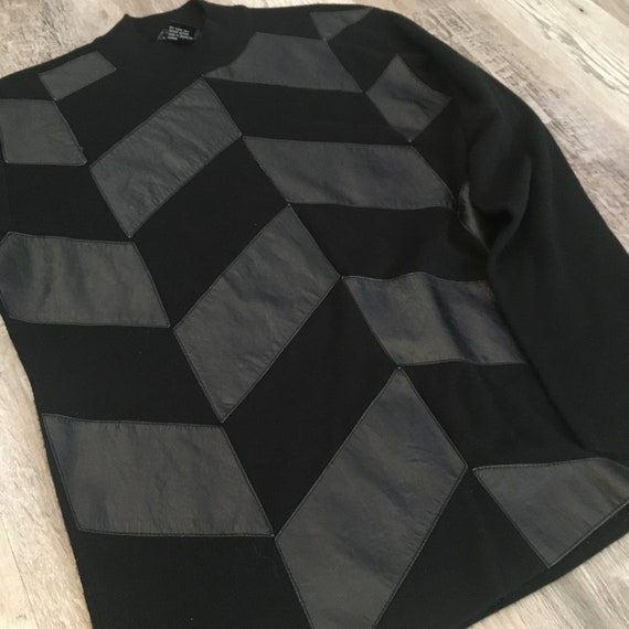 90s Herringbone Patchwork Sweater