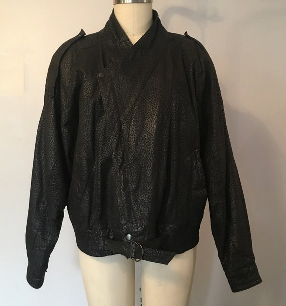 Batwing Leather Bomber Jacket