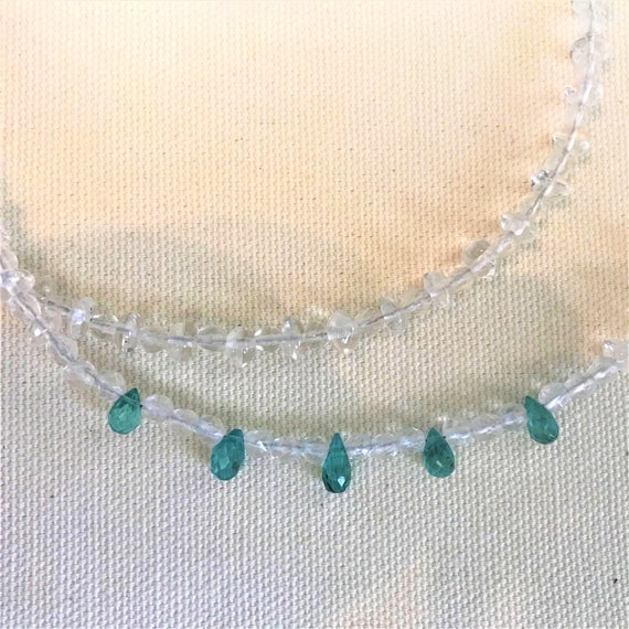 Aquamarine Necklace - White Topaz & Aquamarine Nec