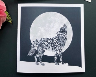 Wolf Silhouette, Blank Greeting Card, Floral Wildflower Pattern, Wildlife Notecard, Howling At The Moon, Halloween