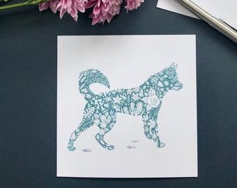 Siberian Husky Silhouette, Snow Dog, Blank Greeting Card, Dog Notecard, Floral Pattern