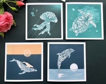 Sea Life Greeting Cards, Whale, Dolphin, Turtle, Jellyfish, Ocean Animals, Wildlife Silhouettes, Seaweed and Coral Pattern, Blank Notecards