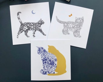 Cat Greeting Cards, Kitten Silhouette, Cat Friends, Black Cat, Blank Notecards, Floral Pattern