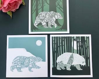 Bear Greeting Cards, Polar Bear, Grizzly Bear, Giant Panda, Wildlife Silhouettes, Floral Pattern, Blank Notecard