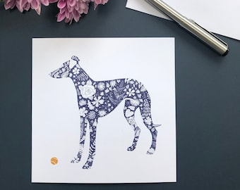 Sighthound Silhouette, Blank Greeting Card, Whippet, Greyhound, Dog Notecard, Floral Pattern