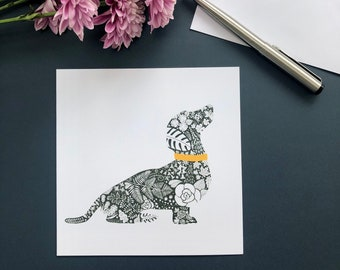 Dachshund Silhouette, Blank Greeting Card, Dog Notecard, Floral Pattern