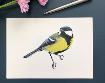 Great Tit, Garden Bird Illustration, A5 Print, Optional A4 Mount, Recycled Paper, Eco Gift, Gifts for Gardeners, Bird Watchers