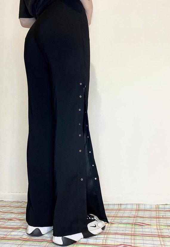 Vintage Womens Black Classic Flare Pants Drawstrin